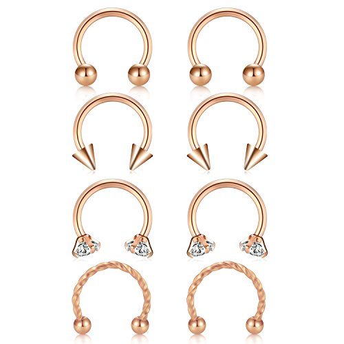 JFORYOU Rose Gold Horseshoe Circular Barbell CZ Stone Braided Barbell Nose Septum Rings Hoop Lip Ring Helix Cartilage Tragus Earring 316L Surgical Steel 16G (Gold Spike Circular Barbell)