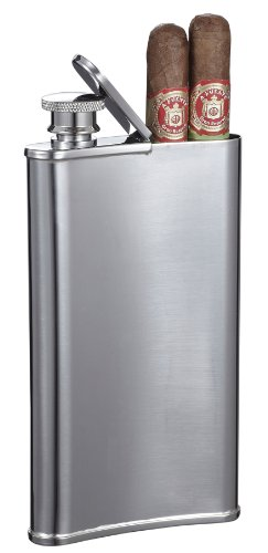 Visol Edian Stainless Steel 4-Ounce Hip Flask with Built-In Cigar (Cigar Flask)