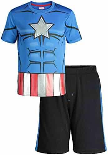 bc95c44d Marvel Avengers Black Panther Spiderman Hulk Boys' Athletic T-Shirt & Mesh  Shorts Set