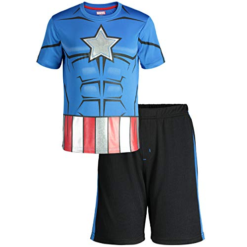 Marvel Avengers Captain America Toddler Boys' Athletic T-Shirt & Mesh Shorts Set, Blue (3T)