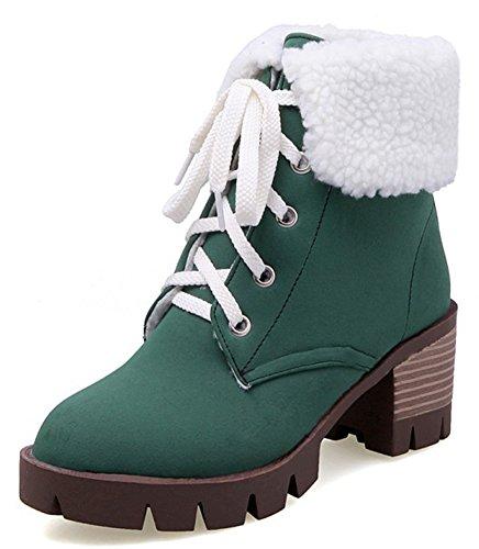 Idifu Classica Piattaforma Faux In Pelliccia Sintetica Con Tacchi Chunky Lace Up Martin Boots Stivaletti Alla Caviglia Verde