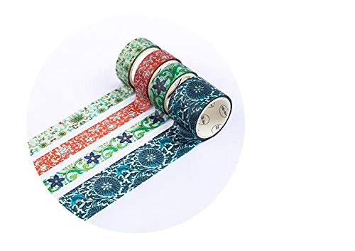 BCopter Washi Masking Tape Set Creative DIY Arts Kit Party Craft Favor for Kids Adults, Colorful Sticky Paper Decoration Gift Wrap Scrapbook Journal, Hand Tear Writable (Splendid Embroidery)