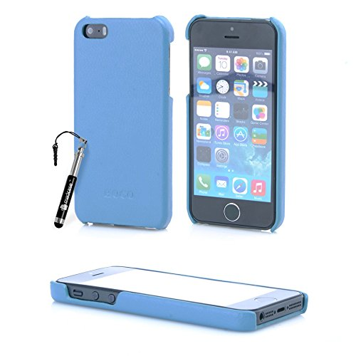 MadCase® Elegante Apple iPhone SE/Apple iPhone 5S/Apple Iphone 5 PREMIUM PU Leder Back Case Cover in Retail Pack – Blau