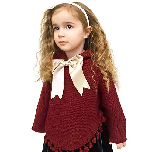 G-real Baby Sweater Outfits, Newborn Infant Baby Girls Bow Tassel Knitted Hooded Tops Sweater Christmas Cute Blouse -
