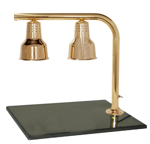 Hanson Brass FLD/BB/BR Dual Bulb Heat Lamp Fixture on 20'' x 24'' Synthetic Granite Base, Brass Finish by Hanson Heat Lamps