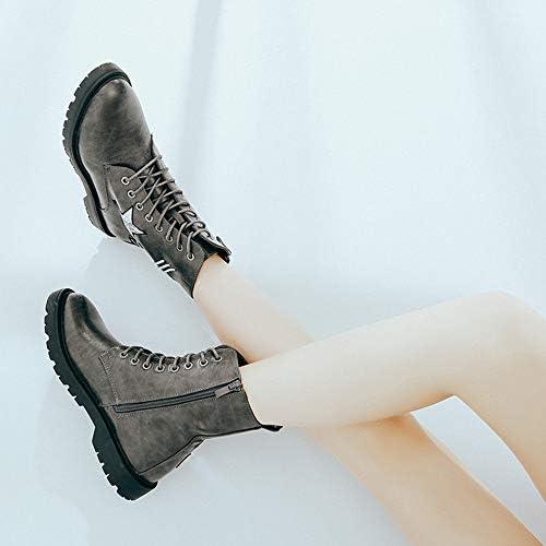 ZYT Martin Boots Aux Femmes Rond Doigt De Pied Lase-Up Cheville L'automne Bottes Cuir De Dames Bottines De Combat (Gris),38