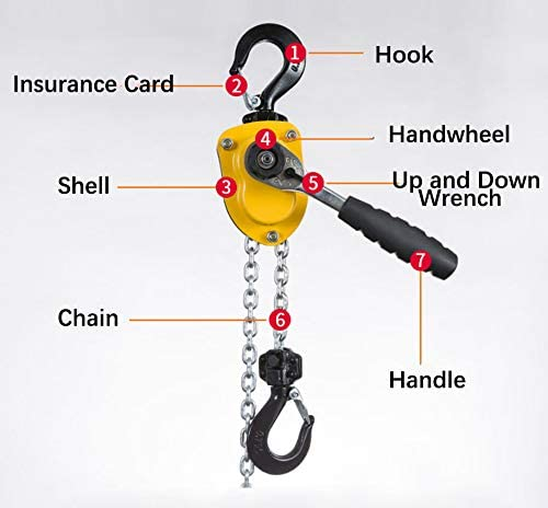 9.8 inches NEWTRY 0.25T Manual Hand Hoists Portable Steel Chain Lift with 2 Hooks