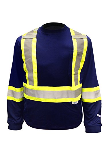 Viking Safety Cotton Lined Hi-Vis Long Sleeve Shirt, Navy, 3X-Large