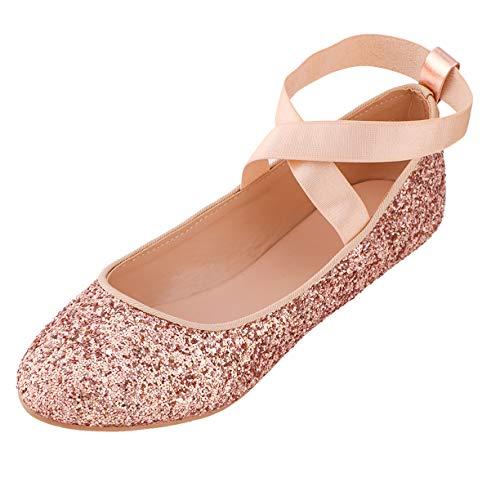 (MOC PAPA Girls Big Kids Rose Gold Glitter Classic Dress Ballerine Flats Slip-on Ballet Flats Elastic Crossing Strap Size 2 M US)