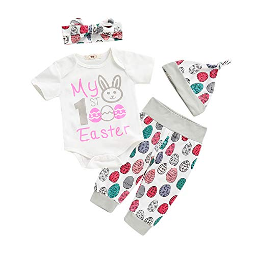 NZRVAWS Baby Clothes Girl My 1st Easter Bunny Short Sleeve White Romper Jumpsuit+ Infant Pants+ Bow Headbands+ Baby Hats Summer Set 3-6 ()