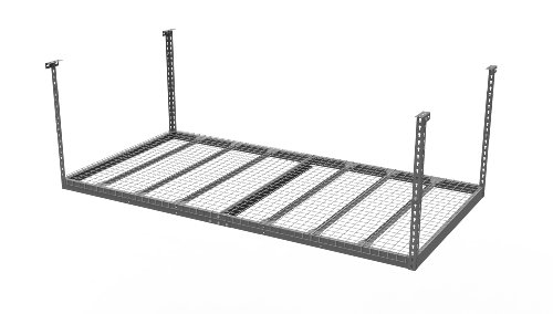 NewAge Products 40151  4-Feet by 8-Feet Ceiling Mount Garage Storage Rack, Grey (Storage Overhead Bins)