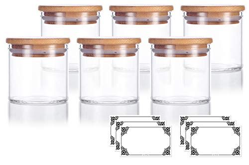 4 oz Premium Borosilicate Clear Glass Jars with Bamboo Silicone Sealed Lid (6 Pack) + Labels