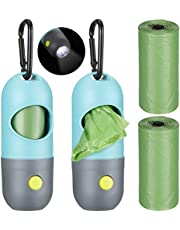 2 Pcs Dog Poop Bags Holder with LED Flashlight and Metal Carabiner Pet Waste Bags Dispenser with 2 Rolls of Green Leak-Proof Bags