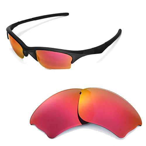 Walleva Polarized Fire Red Replacement Lenses for Oakley Half Jacket XLJ Sunglasses