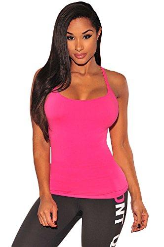 NEW Mesdames Rose Bretelles Dos Nu pour femme Club Wear Tops Casual Wear Vêtements Taille S UK 8–10