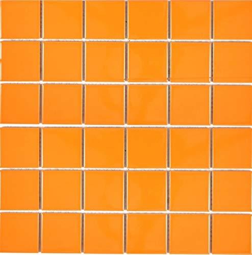 Mosaikfliese Keramik orange Fliesenspiegel K/üchenfliese Wandfliese MOS14-0802/_m