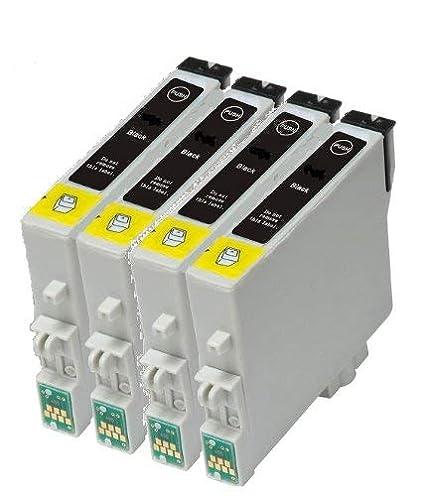 Set de 4 x T0611 Negro Compatible con impresoras para EPSON Stylus ...