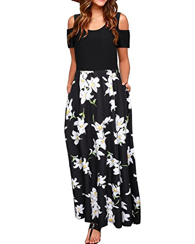 - STYLEWORD Women's Summer Cold Shoulder Floral Print Elegant Maxi Long Dress with Pocket(Floral01,L)