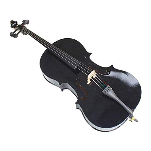 Genetic Los Angeles 4/4 Size Black Cello with Hard Case + Soft Carrying Bag + Bow + Rosin