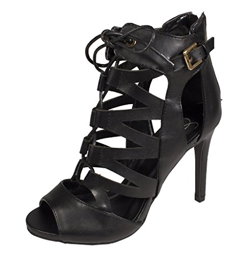 Lustacious Womens Open Toed Lace Up Tacco Alto In Similpelle Nera