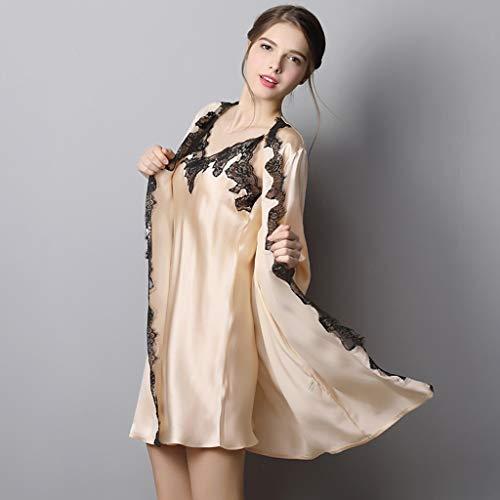 Para Color Siete Beige Pijamas A Mujer Size Puntos Sg Sólido color Domicilio Mangas Seda Dos Beige Damas Arnés De Piezas Camisón Servicio 11AEY7x