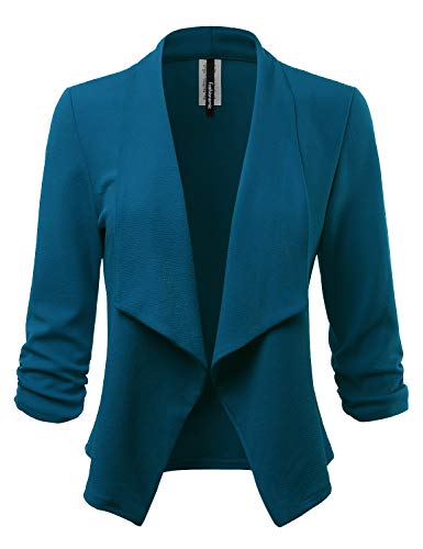 - FASHIONOLIC Women's Stretch 3/4 Gathered Sleeve Open Blazer Jacket (Made in USA) (CLBC001) Teal M