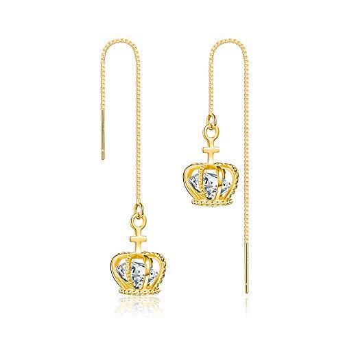 (Threader Earrings Gold Chain Dangle Drop Shiny Crown Gold Earrings For Women Dangle Earrings 14k Gold Dipped Long Chain Earring for Women Girls)