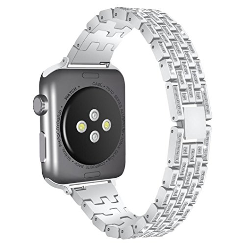 Alonea Apple Watch Band, Luxury Alloy With Crystal Link Bracelet Watch Band Strap For Apple Watch (42MM Silver) ()
