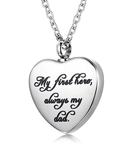 (Udalyn Cremation Necklace Keepsake Memorial Pendant Heart Shaped Urn Chain for Parents Friends)