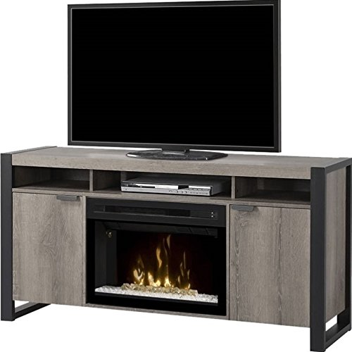 BOWERY HILL Electric Fireplace TV Stand with Acrylic in Steeltown (Hill Fireplace Electric)