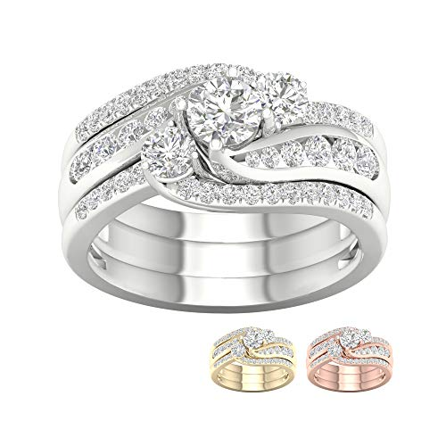 IGI CERTIFIED 10K White Gold 1 1/4ct TDW Diamond Bypass Engagement Ring Set (I-J, I2) (6)