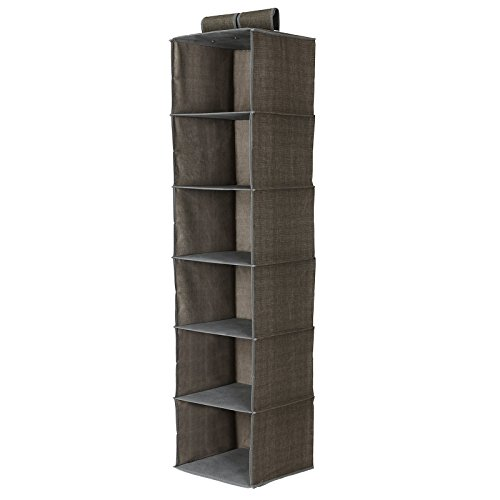 SONGMICS 6-Shelf Closet Organizer Collection Hanging Accessory Storage Shelves Light Brown URCH06K - Hanging Basket Collection