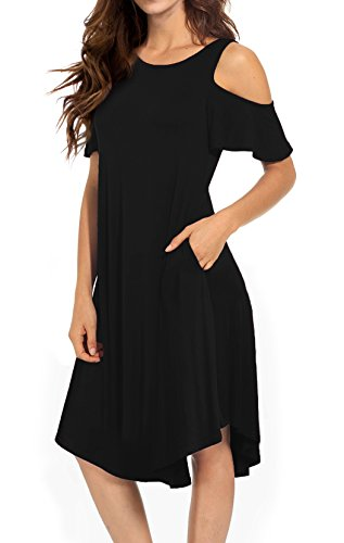 Maternity Sweater Belted - VERABENDI Women's Casual Cold Shoulder Midi Dress Short Sleeve Swing Dress with Pockets Black L
