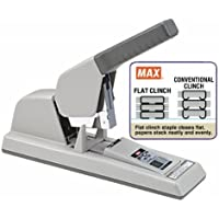 Max HD-12F Heavy Duty Stapler, 100 staples load capacity, Papers stack neat & flat, 40 - 120 sheets of 20-lb bond paper stapling capacity, Adjustable paper stop adjusts throat depth to 1-7/8 (46 mm)