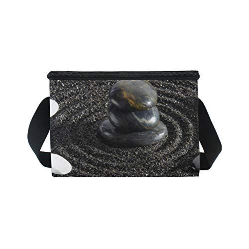 Art Piedra Bolsa Hombro Picnic Enfriador Negra Pebbles Lonchera Para Correa Arena Almuerzo De rYxwYE