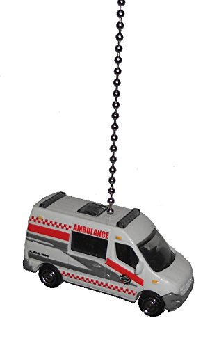 Renault Master Cars - Matchbox Car Truck vehicle Ceiling FAN PULL light chain (WHITE Renault Master AMBULANCE rescue vehicle)