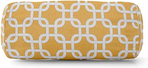 Majestic Home Goods Yellow Links Indoor / Outdoor Round Bolster Pillow 18.5″ L x 8″ W x 8″ H