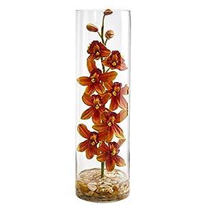 Nearly Natural 1720-BG Cymbidium Orchid Artificial Cylinder Vase Silk Arrangements, Burgundy 103