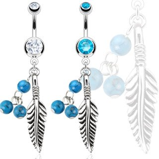 316L Steel Dream Catcher Feather with Blue Turquoise Semi Precious Stone Beads Navel Ring; Comes With Free Gift Box (Clear)