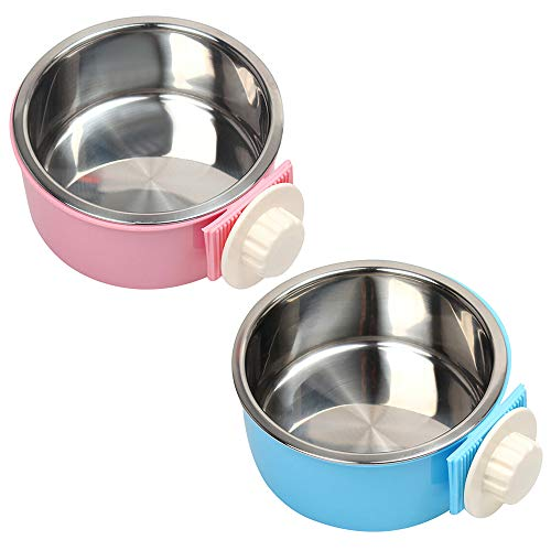 - MyLifeUNIT Crate Hanging Dog Bowls, Removable Stainless Steel Dog Dish Bowls (2 Pack)