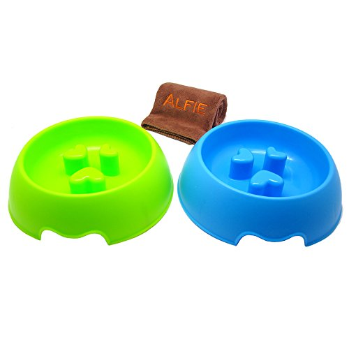 Alfie Pet by Petoga Couture - Sol Slow-Eating Anti-Gulping Pet Food Bowl 2-Piece Set with Microfiber Fast-Dry Washcloth (for Dogs & Cats) - Color: Blue and Green, Size: Medium