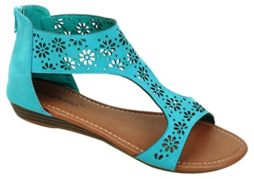 Hazel's Jewel Perforated Gladiator Sandal with Back Zip Closure and Moderate Heels, Mint, 7 (M) US Jewel Zip