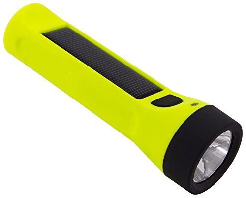 Yellow Rechargeable Flashlight - Hybridlight Journey - Solar / Rechargeable 160 Lumen LED Waterproof Flashlight. High / Low Beam, USB Cell Phone Charger, Built In Solar Panel Charges Indoors or Out,  Quick Charge using Included USB Cable, Hi Vis Yellow