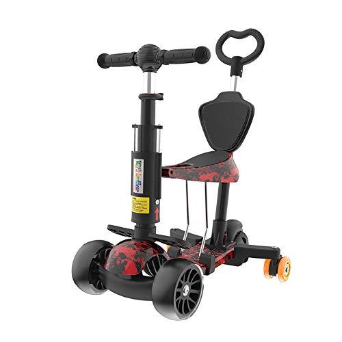 K&G Scooter De 3 Ruedas para Niños Pequeños, Mini Desmontable Kick Scooter Ajustable En Altura con Asiento Y Led Light Up...