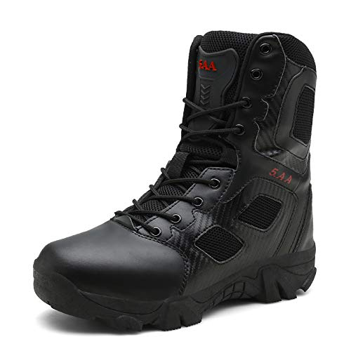 Fuaojia Men Combat Boots Waterproof Leather Tactical Sport Side-Zip Military Boot (US 13/285mm, Black)