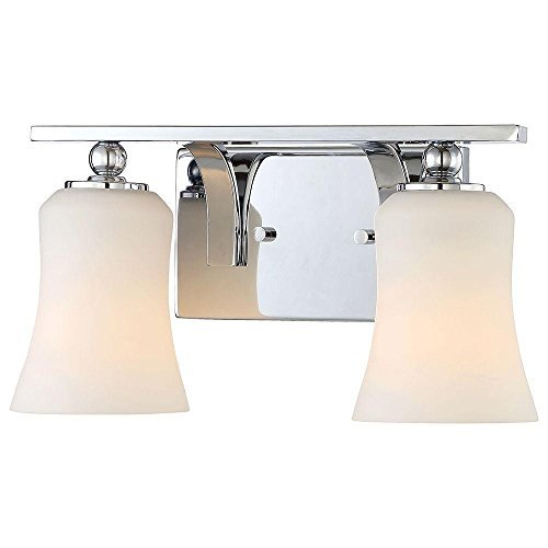 Home Decorators Collection 2-Light Chrome Square Bath Vanity Light with Etched White ()