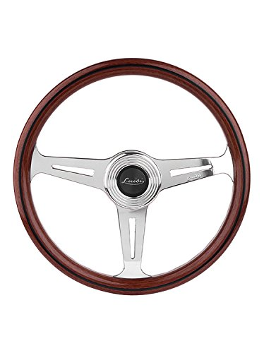Luisi Italy Montecarlo Mahogany Wood Racing Vintage Steering Wheel 390 mm 15.35 inch Polished Spokes Handcrafted In Italy 33907
