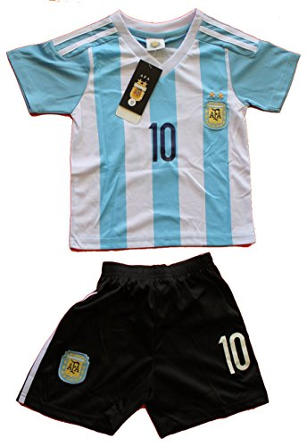 2015 ARGENTINA HOME LEO MESSI 10 FOOTBALL SOCCER KIDS JERSEY & SHORT (4-5 YEARS)