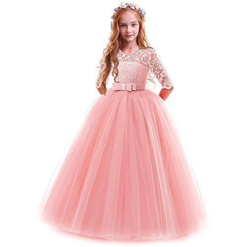 IBTOM CASTLE Spring Flower Girl Wedding Bridesmaid 3/4 Sleeves Kids Floral Lace Pageant Communion Princess Dress Prom Evening Dance Gown Pink 3-4 Years