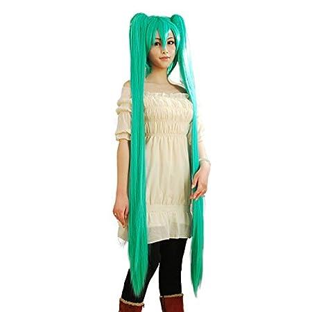 CoolChange peluca de Miku Hatsune con dos colas largas, verde: Amazon.es: Juguetes y juegos